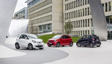 smart BRABUS fortwo coupé, 2016, white smart BRABUS forfour Xclusive, 2016, red smart BRABUS cabrio Xclusive, 2016, tailor made dark blue shiny