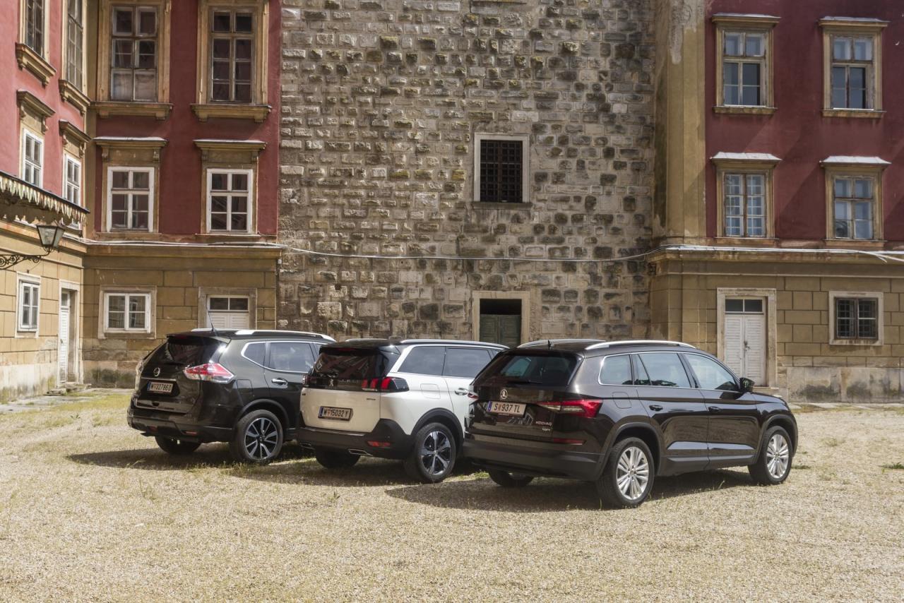 Duell der Familien SUV: Wie schlägt sich der brandneue Peugeot 5008 gegen den frischen Skoda Kodiaq und den ausgereiften Nissan X-Trail?