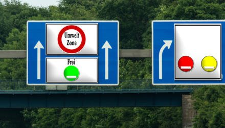 """Road sign with inscription in German """"Environmental Zone Free"""". Direction free environment free ride with green plaque."""