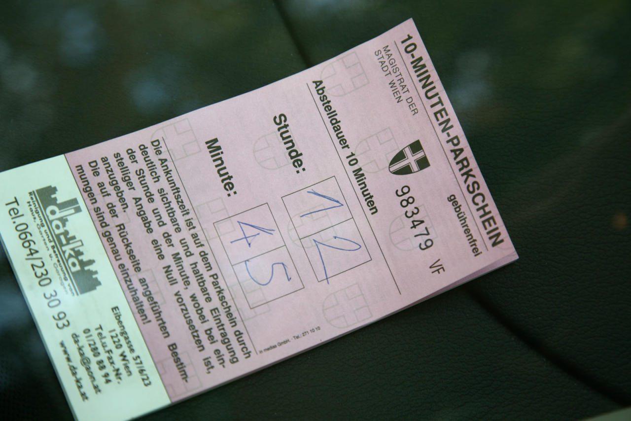 Parkscheine in Wien; 10-Minuten-Parkschein; Foto: ÖAMTC