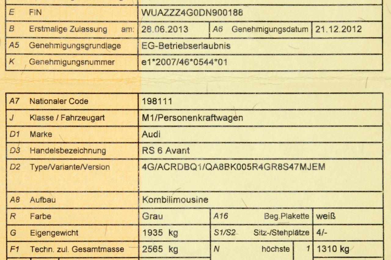Zulassungsschein Audi RS 6